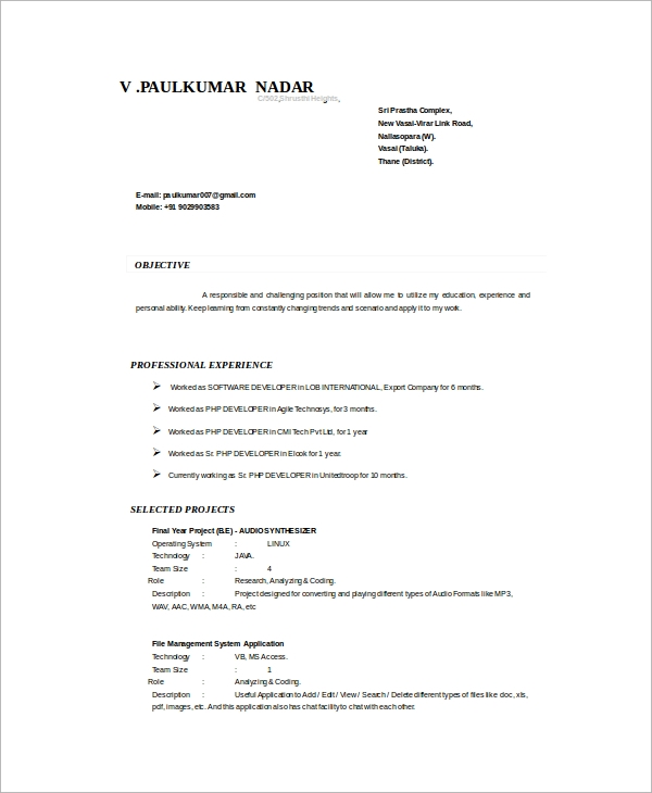 sample php developer resume  u2013 7  documents in word  pdf