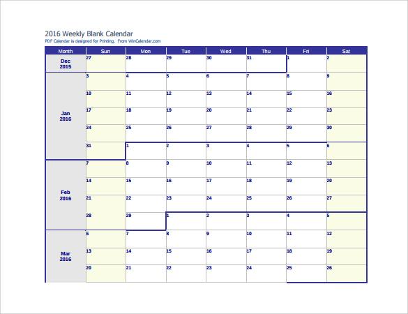 blank weekly calendar 2016
