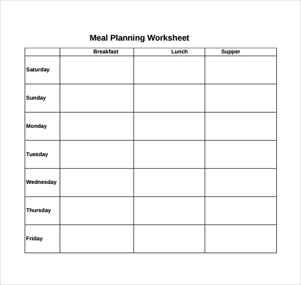sample meal planning