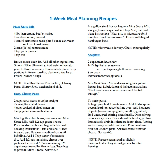 one week meal planning recipes