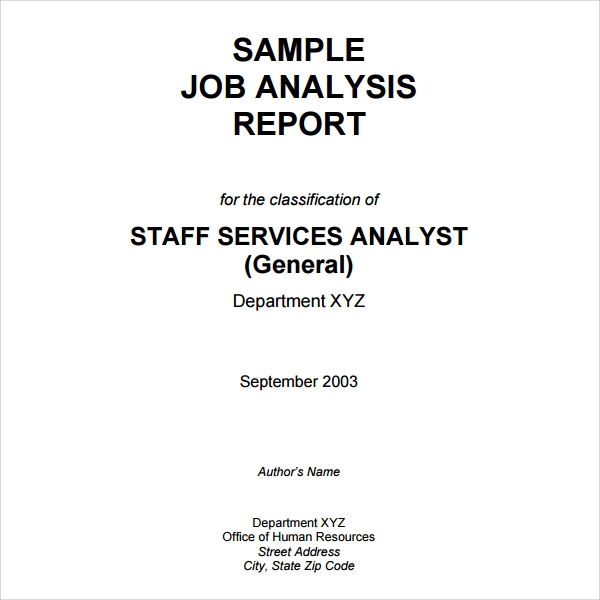 Sample Job Analysis Report Template  Analysis Report Sample