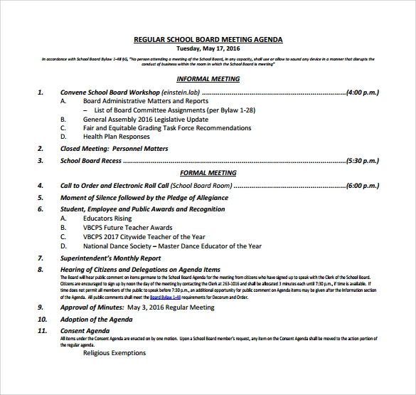 Board Meeting Agenda - 11+ Free Samples, Examples, Format
