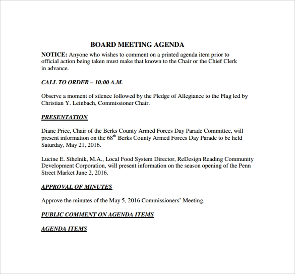 Board Meeting Agenda To Print  Format For An Agenda