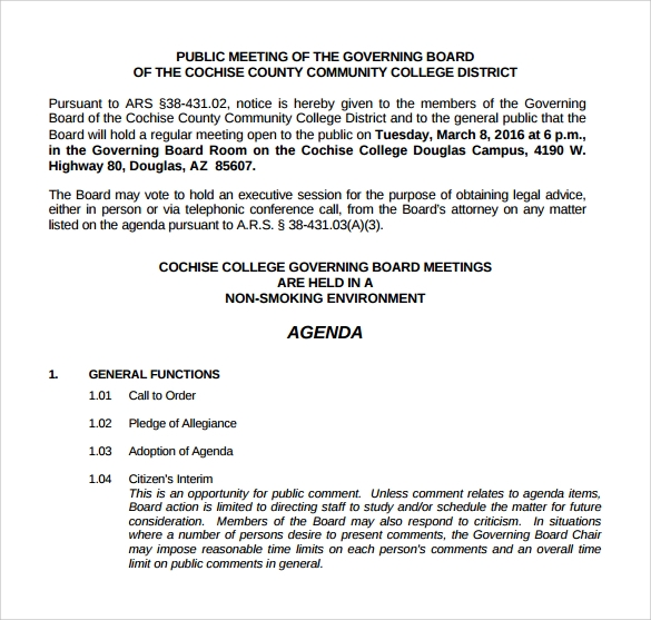 downloadable board meeting agenda
