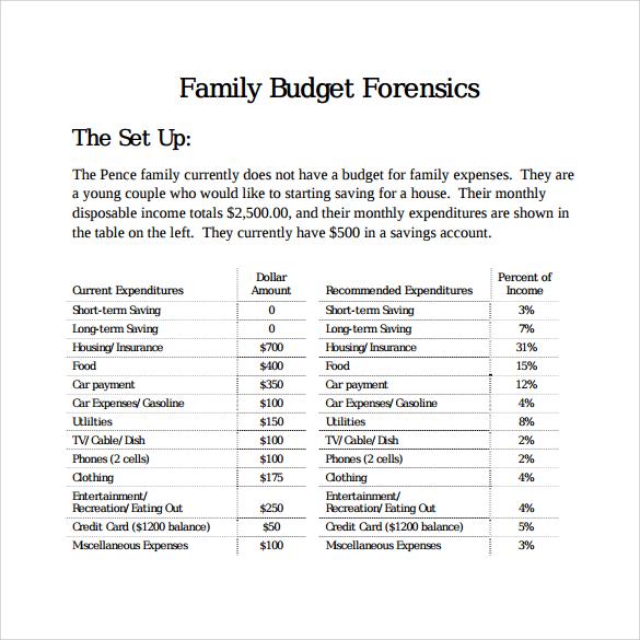 family budget forensics