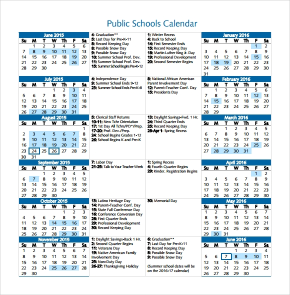School Calendar Format  BesikEightyCo