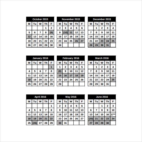 School Calendar   Free Samples Examples Format