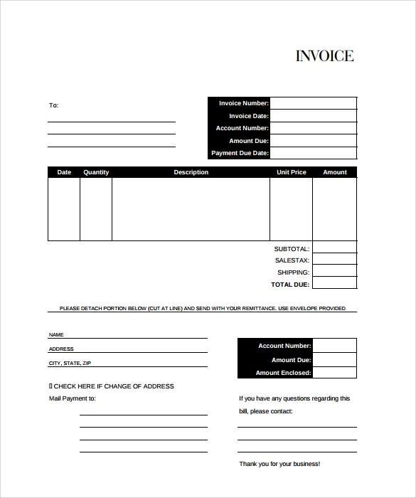 Free Billing Invoice Templates  PrivatesoftwareInfo