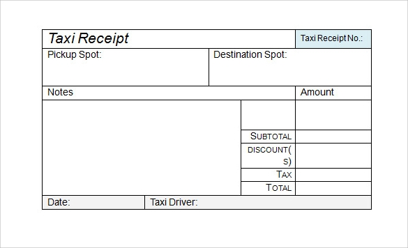 9 sample receipts sample templates for Limo receipt template