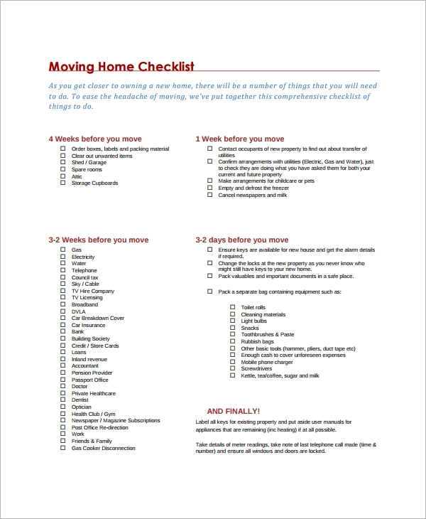 Moving Checklist Templates  Free Example Sample Format