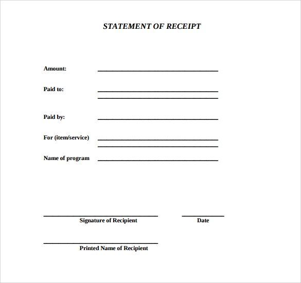 10 Blank Receipt Templates Free Samples Examples Format – Blank Receipt to Print