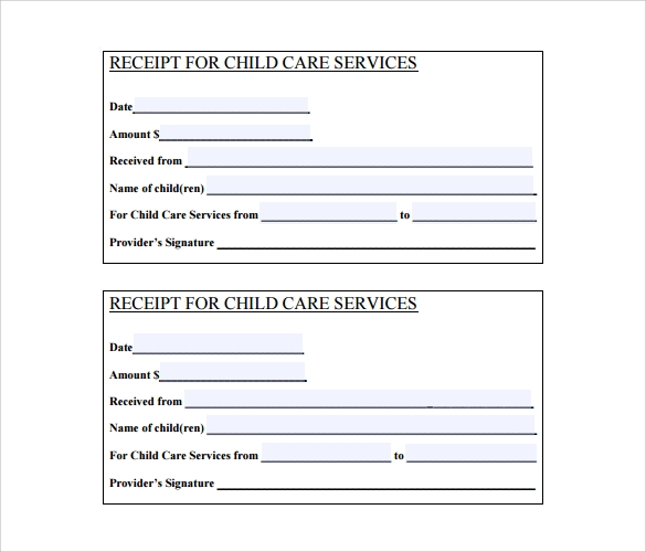 Blank Child Service Receipt Ideas Printable Receipt For Services