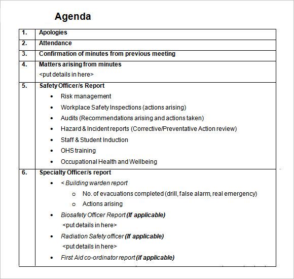 committee meeting daily agenda