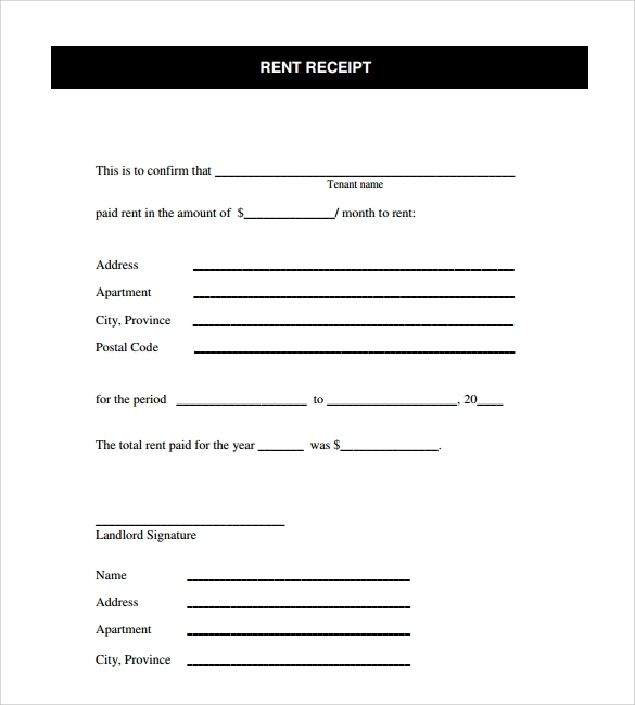 free sample rent receipt template – Free Printable Receipt Forms
