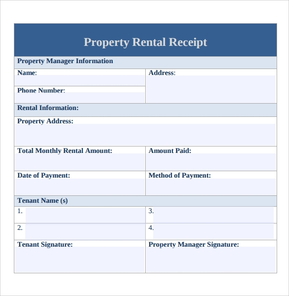 Rent Receipt Templates – Free Samples, Examples, Format