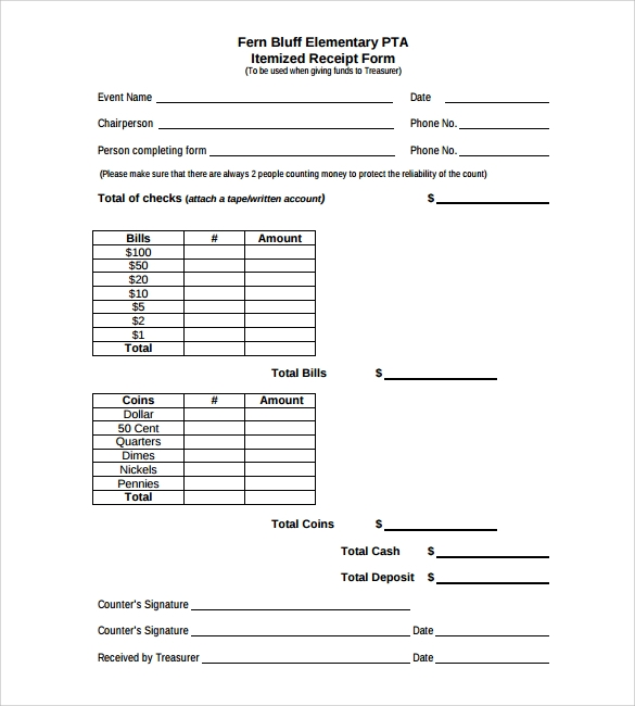 itemized receipt form sample