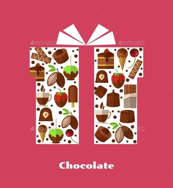 gift card template with sweets choclates