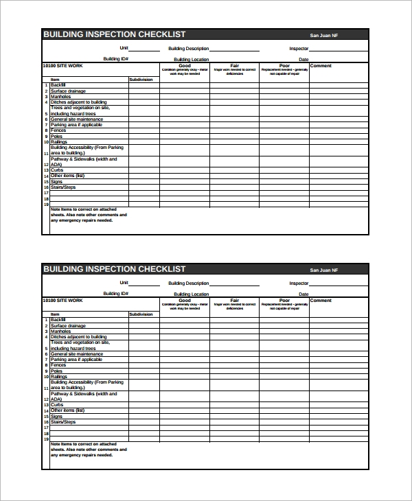 15 sample home inspection checklist templates sample for Building directory template