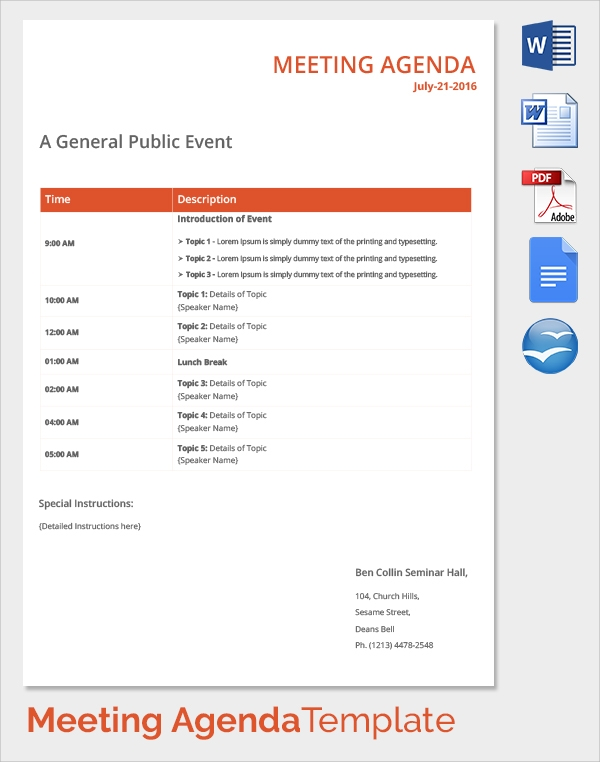 public event meeting agenda template1