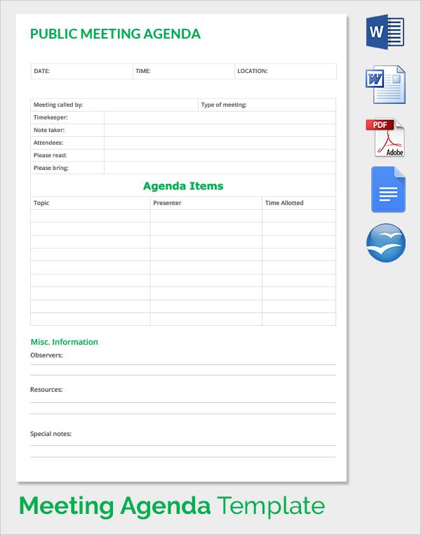 public meeting agenda template