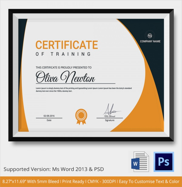 23 training certificate templates samples examples for Training certificate template free