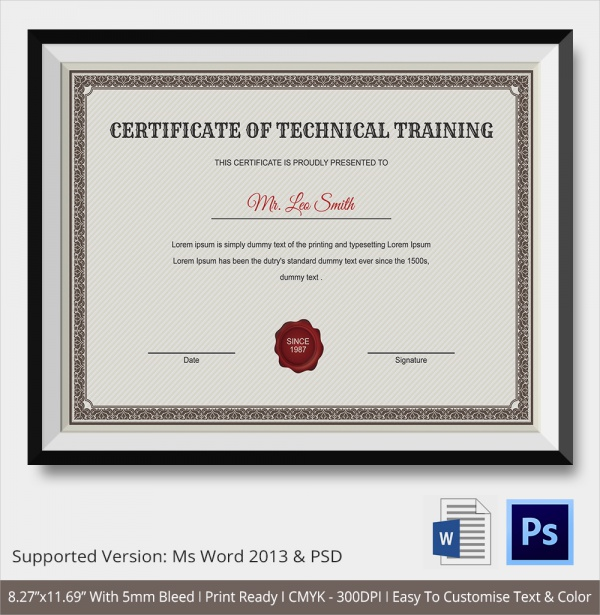 23+ Training Certificate Templates – Samples , Examples ...