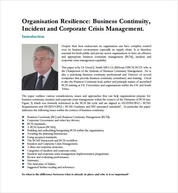business continuity crisis management plan