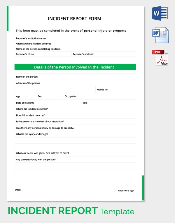 Sample Incident Report   Documents In Pdf Word