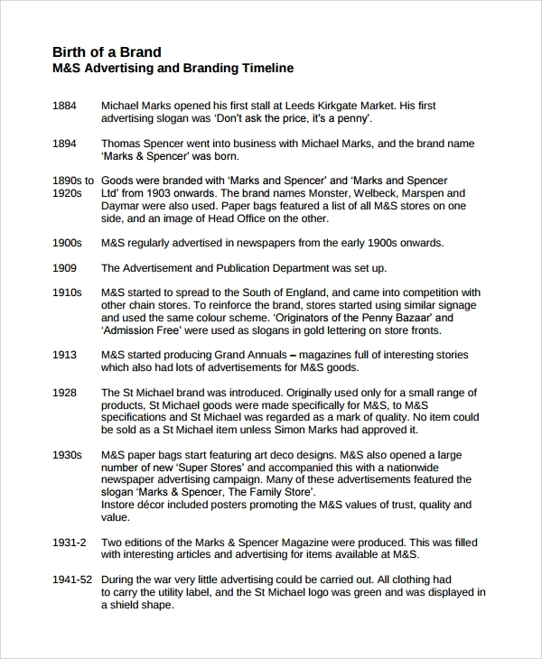 Sample Advertising Timeline   Documents In Word Pdf