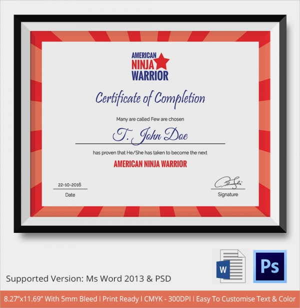 Sample certificate of completion 25 documents in vector eps psd american ninja warrior completion certificate yelopaper Image collections
