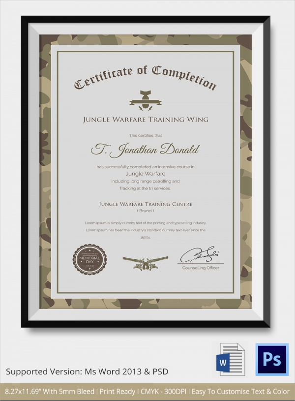 army cameo certificate of completion
