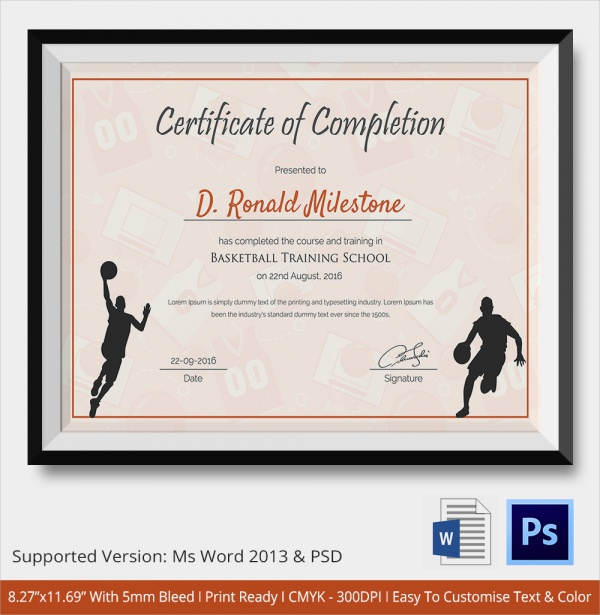 Sample certificate of completion 25 documents in vector eps psd basketball certificate of completion yadclub Images
