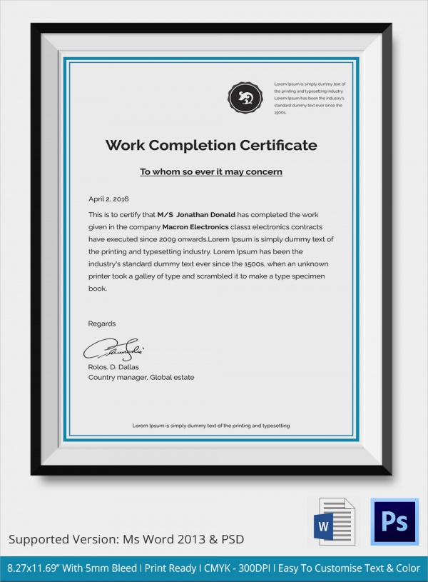 Sample certificate of completion 25 documents in vector eps psd yadclub Choice Image