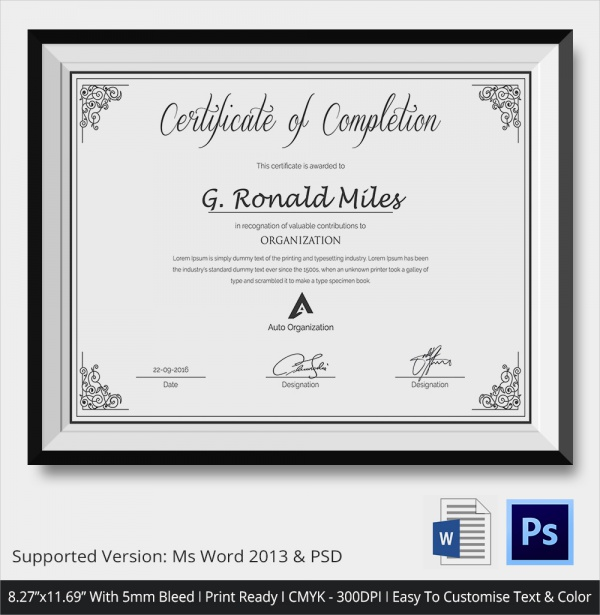 custom made completion certificate