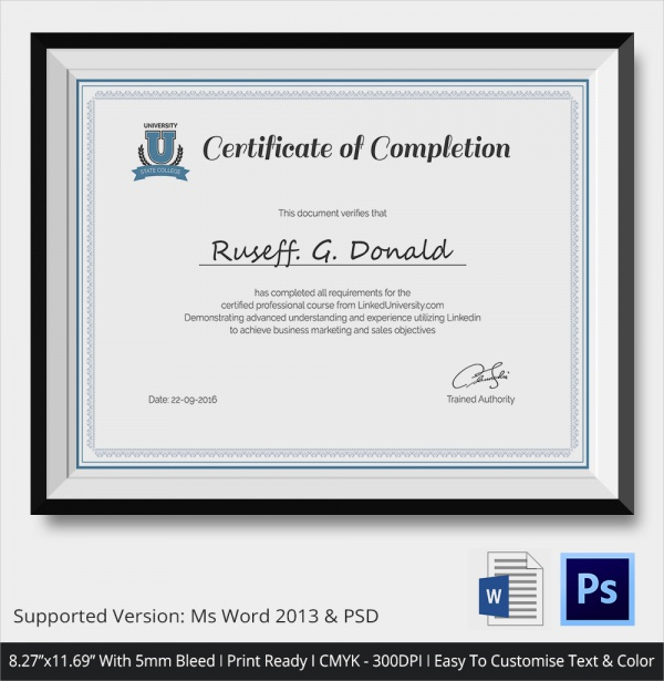 Course Completion Certificate  Course Completion Certificate Format