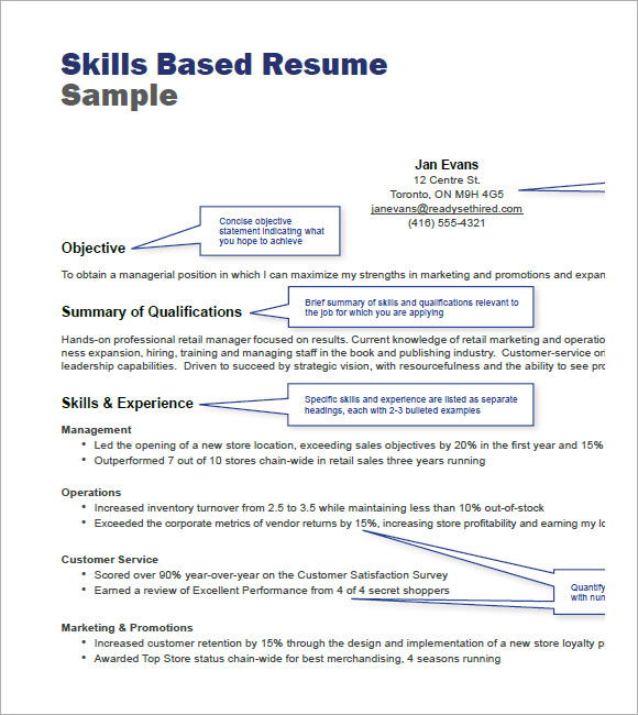 Skills Based Resume Sample PDF  Retail Resume Skills