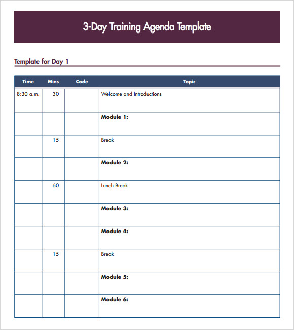 3 day training agenda template