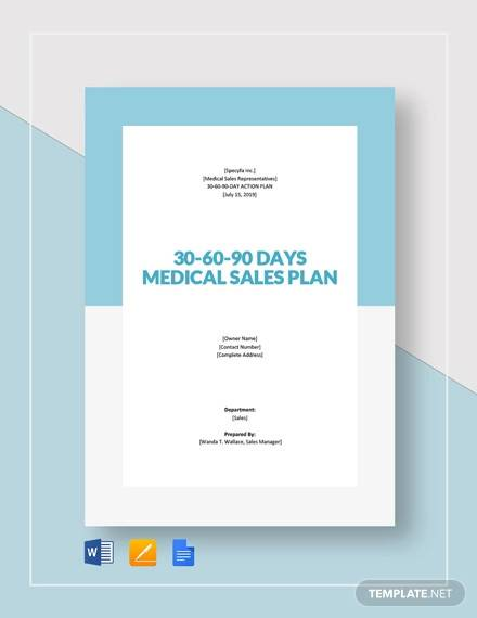 30 60 90 day plan medical sales template