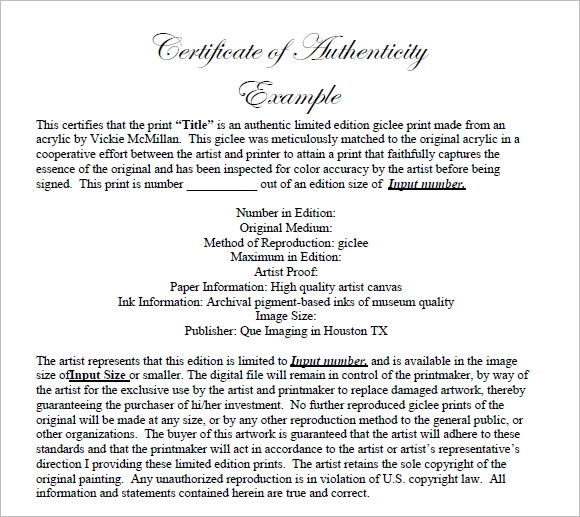 Free printable certificate authenticity template certificate of authenticity templates free samples examples yadclub Images