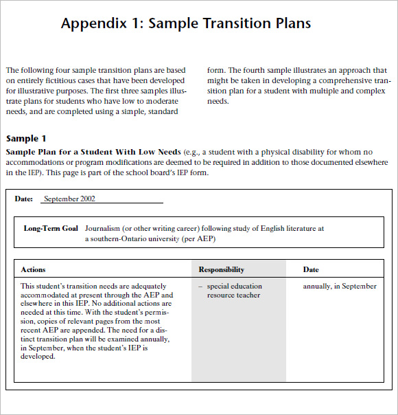 Transition Plan Template     8  Free Samples Examples Format UeUCgVpL