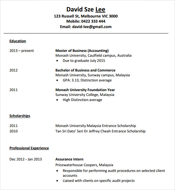 10 Accounting Resume Templates – Free Samples , Examples & Format ...