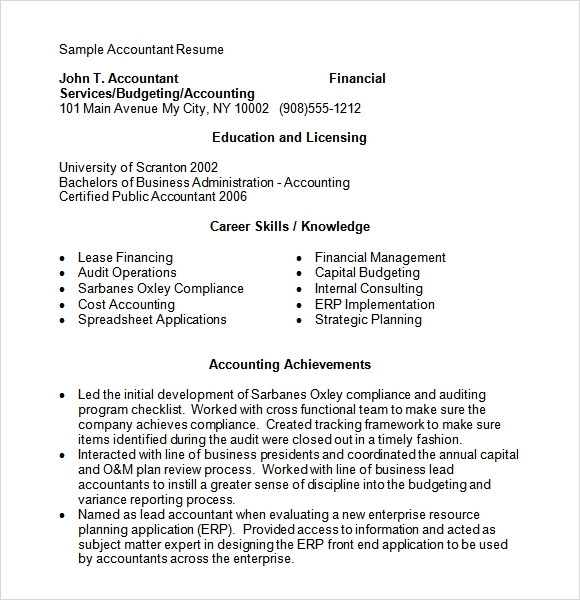10 accounting resume templates � free samples examples