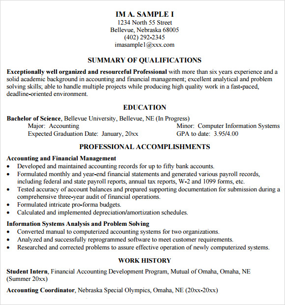 Accounting Resume 9 Free Samples Examples Format – Sample Accounting Resume