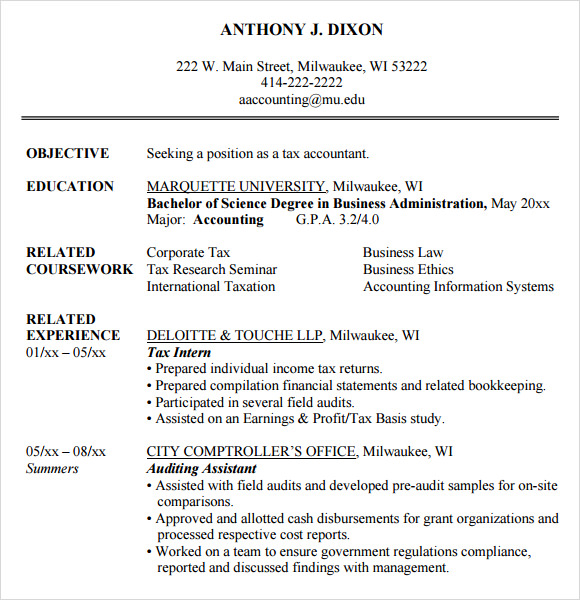 Student Resumes. Accounting Resume Overview Profile Overview For ...