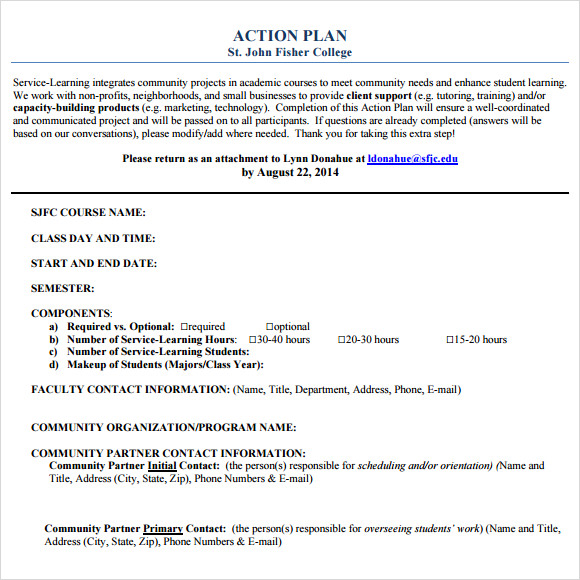 Sample Action Plan   Example Format