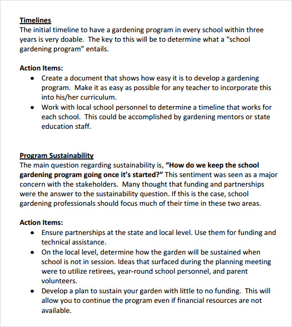 plan format – Time and Action Plan Format