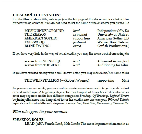 Sample Acting Resume 6 Documents in PDF Word – Sample Acting Resume