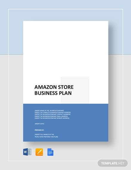 amazon store business plan template