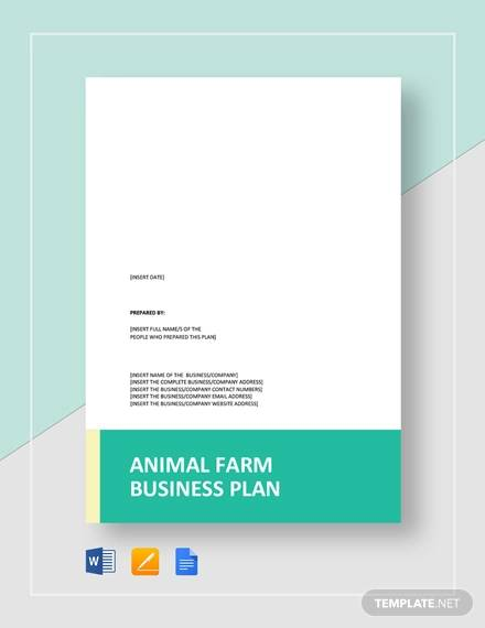 animal farm business plan template