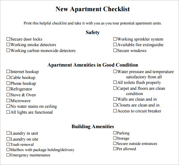 Sample New Apartment Checklist   Documents In Pdf Word